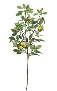 "43"" Frosted Apple Branch - 132 Leaves - 5 Apples - Green"