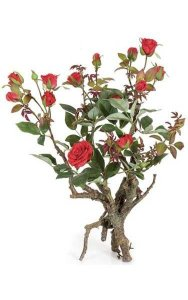 "18"" Roses in Branch with Leaves/Thorns - Plastic Brown Trunk - 13 Red Roses - 2 Buds"
