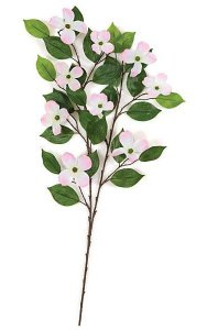 "29"" Dogwood Branch - 27 Leaves - 9 Flowers - Pink/White"