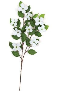 "29"" Dogwood Branch - 27 Leaves - 9 Flowers - White"