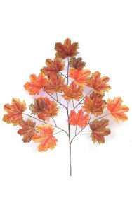 "40"" Canadian Maple Branch - 20 Orange/Red/Brown Leaves"