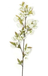 Cherry Blossom Branch - 53 Leaves - 49 Flowers - 22 Buds - White