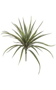 "26"" Plastic Yucca Bush - 48 Green Leaves with Red Edges - Bare Stem"