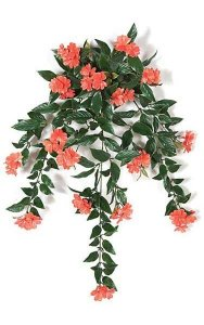 "30"" Impatiens Bush - 16 Coral Flowers Clusters - 4"" Stem"