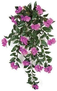 "30"" Impatiens Bush - 16 Dark Lavender Flowers Clusters - 4"" Stem"