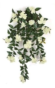 "30"" Impatiens Bush - 16 Cream/White Flowers Clusters - 4"" Stem"