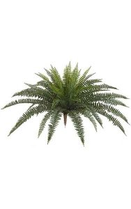 "30"" Plastic Outdoor Large Boston Fern - 49 Fronds - 45"" Width - Green - Bare Stem"