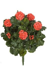 "26"" Outdoor Polyblend  Geranium Bush - 67 Leaves - 5 Flowers - 4 Buds - Red - Bare Stem"