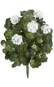 "26"" Outdoor Polyblend Geranium Bush - 67 Leaves - 5 Flowers - 4 Buds - White"