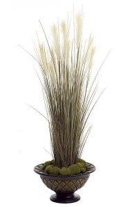 "58"" PVC Plume Grass - Natural - Weighted Base"