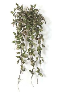 "25"" Plastic Wandering Jew Bush - Soft Touch - 317 Lavender/Green Leaves - 11"" Width"