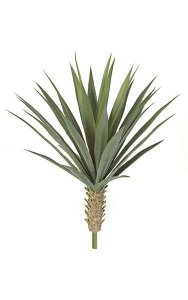 "26"" Plastic Yucca Bush - Synthetic Trunk - 35 Green Leaves - 20"" Width - Bare Stem - Limited UV Protection"