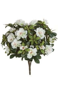 "17"" Azalea Bush - 508 Leaves - 12 Flowers - 29 Buds - White"