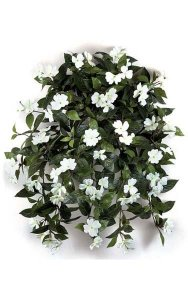 "27"" Impatiens Bush - 417 Leaves - 62 Flowers - 5 Buds - Cream"
