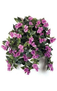 "27"" Impatiens Bush - 417 Leaves - 62 Flowers - 5 Buds - Dark Lavender"