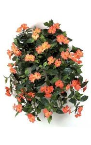 "27"" Impatiens Bush - 417 Leaves - 62 Flowers - 5 Buds - Coral"