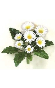 "12"" Gerbera Daisy Bush - 8 Leaves - 7 Flowers - White - Bare Stem"