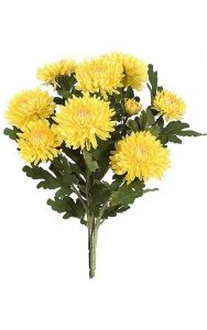 "17"" Chrysanthemum Bush - 9 Yellow Flowers - 32 Green Leaves - 12"" Width - Bare Stem"