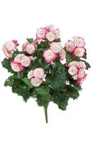 "18"" Begonia Bush - 62 Green Leaves - 41 Pink/Cream Flowers - 16"" Width - Bare Stem"