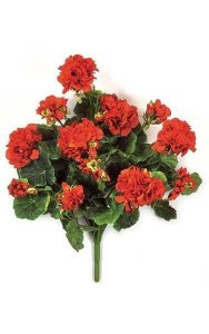 "17"" Geranium Bush - 70 Leaves - 12 Flowers - Red"