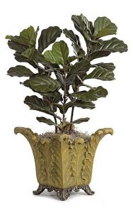 Fiddle Leaf Fig Bush - 3 Synthetic Trunks - Green- FIRE RETARDANT
