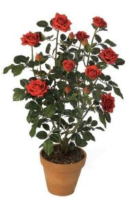 "33"" Rose Bush - 352 Leaves - 14 Flowers - Red - Weighted Base"