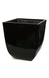 "22.5"" Fiberglass Square Pot - Glossy Black"