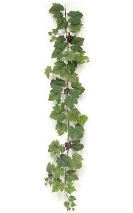 "72"" Grape Leaf Garland - 62 Leaves - 3 Burgundy Grape Clusters - Green"