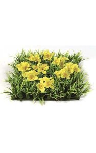 "10"" Plastic Grass Mat with Fabric Daffodils - 100 Leaves - 27 Flowers - 2.5"" Height - Yellow"