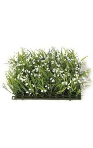 "10"" Plastic Grass with Fabric Gypso - 3"" Height - White/Green"