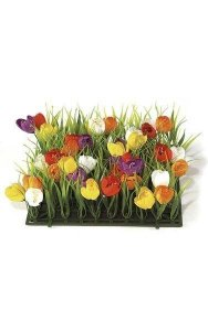 "10"" Plastic Grass with Fabric Crocus - 3"" Height - Mixed Colors"