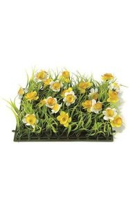 "10"" Plastic Grass with Fabric Daffodils - 3"" Height - Yellow/White"