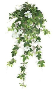 "28"" Clematis Vine - 10 Flowers - 4 Buds - Cream/White"