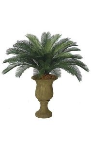 3' Artificial Cycas Palm Cluster - 36 Fronds - Tutone Green - Bare Stem