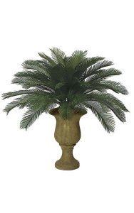 3' Artificial Outdoor Cycas Palm Cluster - 48 Fronds - Tutone Green - Bare Stem