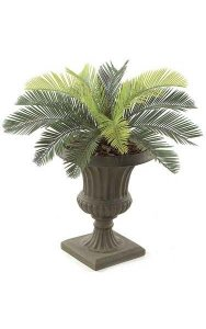 "19"" Plastic Cycas Palm Cluster - 14 Fronds - 29"" Width - Tutone Green - Bare Stem"