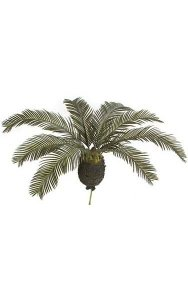 "18"" Plastic Cycas Palm - Synthetic Trunk - 8 Fronds - Green - 30"" Width - Bare Trunk"