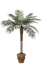 5' Phoenix Palm - Synthetic Trunk - 15 Fronds - Green - Bare Trunk
