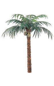 9' Coconut Palm - Natural Trunk - 12 Fronds - 2 Coconuts - Bare Trunk