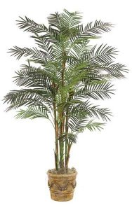 7' Reed Artificial Palm Tree - 7 Synthetic Trunks - 37 Fronds - Green - Weighted Base