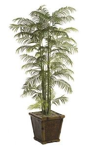 P-63175 7' Areca Palm - Synthetic Trunks - Green - Weighted Base