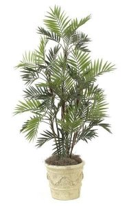 5' Parlour Palm - 11 Synthetic Stems - 48 Fronds - Green - Weighted Base
