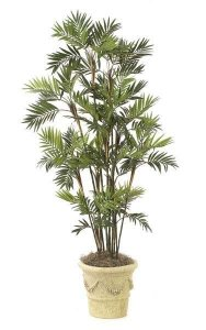 7' Parlour Palm - 15 Synthetic Stems - 72 Fronds - Green - Weighted Base