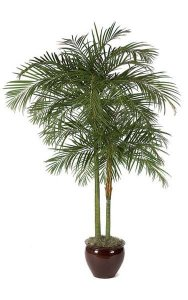 10' Areca Palm - 2 Fiberglass Trunks - 1,692 Leaves - Tutone Green - Weighted Base