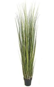 6' PVC Onion Grass Plant - Green/Yellow - Weighted Base