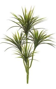"42"" Plastic Yucca Plant - 4 Heads with Green Leaves and Red Edge - 36"" Width - Bare Stem"
