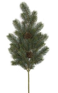 Plastic Pine Branch - 28 Tutone Green Tips - 2 Plastic Pine Cones