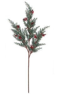 "33.5"" Plastic Juniper Spray x 3 - Red Berries - Green"