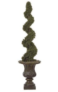 4' Plastic Outdoor  Cedar Spiral Topiary - 1,130 Leaves - Green - Weighted Base