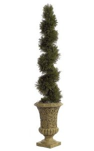 5' Plastic Outdoor Spiral Cypress Topiary - Green - Weighted Base